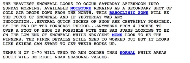 Copper Mountain weather forecast